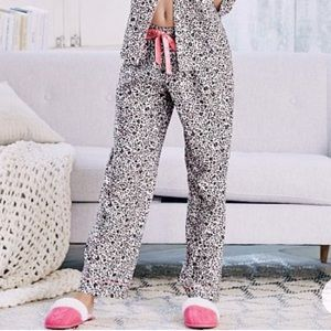VS grey white pink flannel pajama pants pockets S